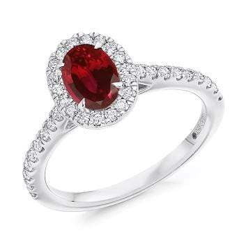 950 Palladium Ruby & Diamond Halo & Shoulders Engagement Ring F-G/VS - Pobjoy Diamonds