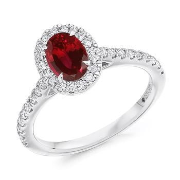 950 Platinum Ruby & Diamond Halo & Shoulders Engagement Ring F-G/VS - Pobjoy Diamonds
