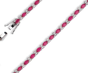 18K White Gold 6 Carat Ruby & Diamond Tennis Bracelet-Pobjoy