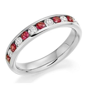18K gold, diamond and red ruby half eternity ring