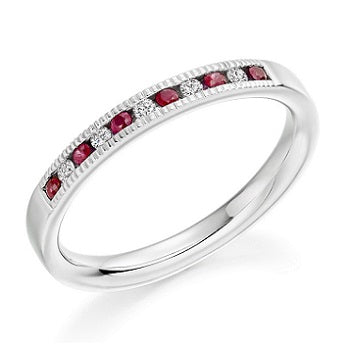18K White Gold & Ruby Half Eternity Ring 0.23 CTW