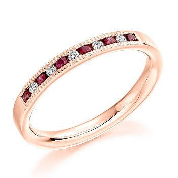 18K Rose Gold & Ruby Half Eternity Ring 0.23 CTW