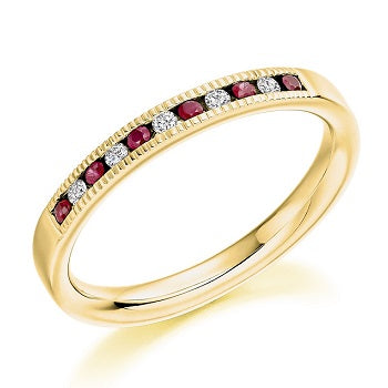 18K Yellow Gold & Ruby Half Eternity Ring 0.23 CTW