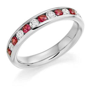 950 Platinum. Ruby & Diamond Half Eternity Ring - Pobjoy Diamonds