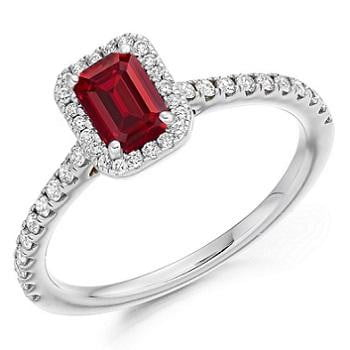 950 Palladium Ruby & Diamond Halo Ring 0.80 CTW - Pobjoy Diamonds