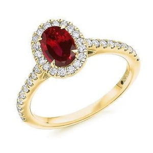 18K Yellow Gold Ruby & Diamond Halo & Shoulders Engagement Ring F-G/VS - Pobjoy Diamonds