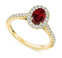 Load image into Gallery viewer, 18K Yellow Gold Ruby & Diamond Halo & Shoulders Engagement Ring F-G/VS - Pobjoy Diamonds