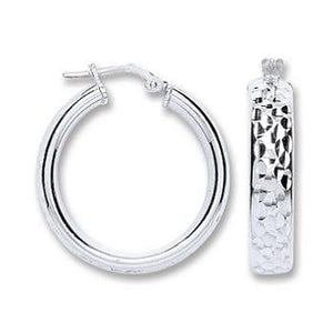 Diamond Cut Silver Wedd Hoop Earrings Pobjoy