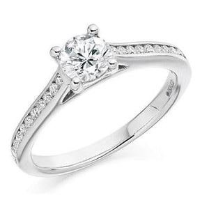 0.75 Carat Brilliant Round Cut Diamond Engagement Ring With Diamond Shoulders From Pobjoy