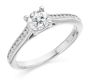 0.75 Carat Brilliant Round Cut Diamond Engagement Ring  From Pobjoy