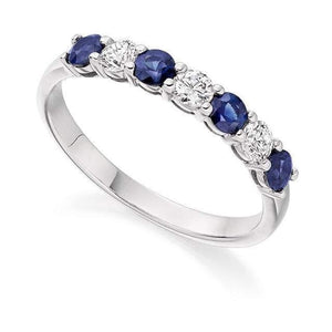 950 Platinum Blue Sapphire & Diamond Half Eternity Ring 0.60 CTW - Pobjoy Diamonds