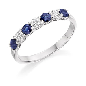 950 Palladium Gold Blue Sapphire & Diamond Half Eternity Ring 0.60 CTW - Pobjoy Diamonds