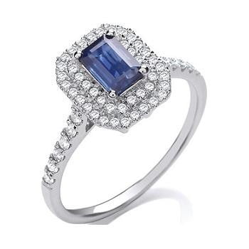 Special Offer Save £225 Buy Diamond and Sapphire Halo Engagement Ring and Wedding Band Pobjoy