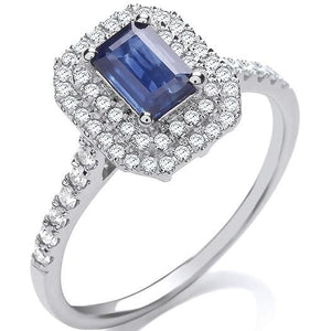 18K White Gold Diamond & Sapphire Engagement Ring & Wedding Band SPECIAL OFFER - Pobjoy Diamonds