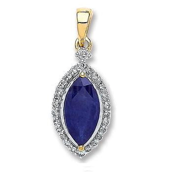 9K White & Yellow Gold Diamond & Sapphire Pendant -Pobjoy Diamonds