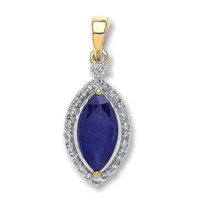 9K White & Yellow Gold Diamond & 1.00 Carat Sapphire Pendant - Pobjoy Diamonds