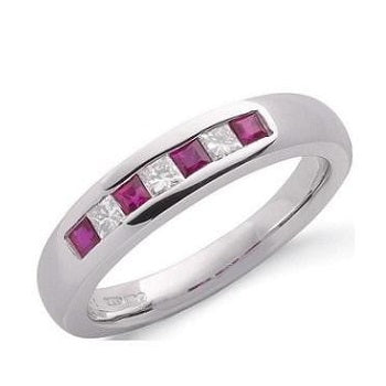 9K White Gold Princess Cut Red Ruby & Diamond Half Eternity Ring - Pobjoy Diamonds