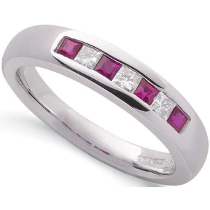 9K White Gold Princess Cut Ruby & Diamond Half Eternity Ring-Pobjoy Diamonds