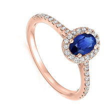 Load image into Gallery viewer, 18K Rose Gold Blue Sapphire & Diamond Halo 0.63 CTW Ring