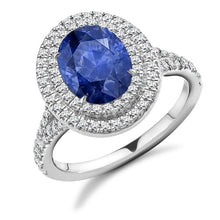 Load image into Gallery viewer, 18K Rose Gold Blue Sapphire & Double Diamond Halo Ring - 2.90 CTW - Pobjoy Diamonds
