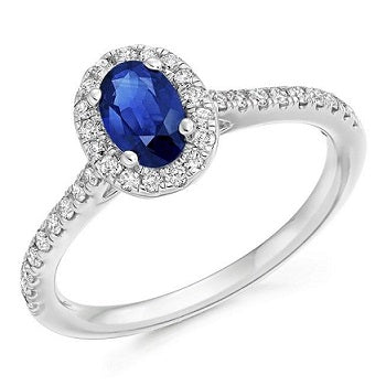 18K White Gold Blue Sapphire & Diamond Halo 0.63 CTW Ring