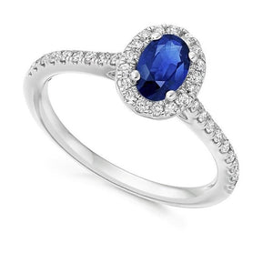 950 Platinum Blue Sapphire & Diamond Halo 0.63 CTW Ring  By Pobjoy Diamonds