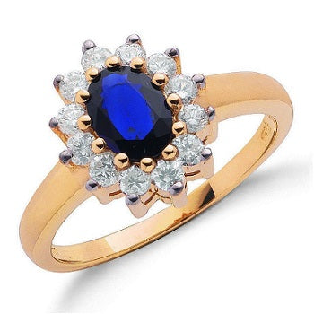 9K Yellow Gold Diamond & Sapphire Ring 1.12 CTW