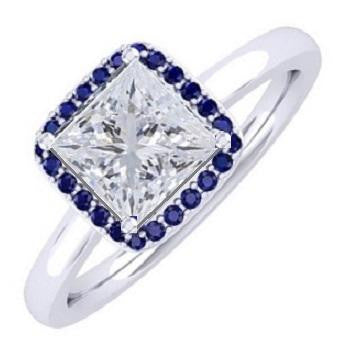 18K White Gold Princess Cut Diamond & Blue Sapphire Halo Ring 1.00 Carat-F/VS1 - Pobjoy Diamonds