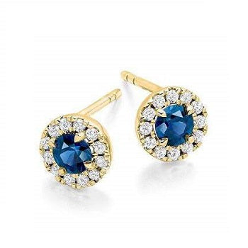 Blue Sapphire & Round Brilliant Cut Diamond Ladies Stud Earrings 18K Yellow Gold - Pobjoy Diamonds