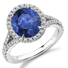 Load image into Gallery viewer, 950 Platinum Oval Cut Blue Sapphire & Diamond Halo Ring - 4.85 CTW - Pobjoy Diamonds