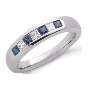 9K White Gold Princess Cut Sapphire & Diamond Half Eternity Ring - Pobjoy Diamonds