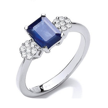 18K White Gold Blue Baguette Sapphire & Diamond Ring-Pobjoy
