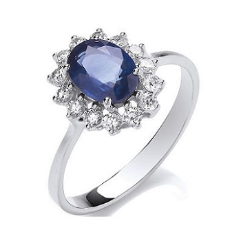 18K White Gold Diamond & Sapphire Ring - Pobjoy Diamonds