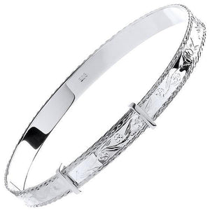Diamond Cut 925 Silver Expandable Bangle - Pobjoy Diamonds