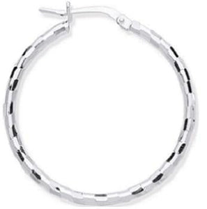 Silver 25mm Hoop Earrings - Pobjoy Diamonds