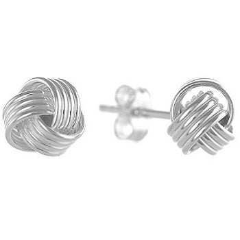925 Sterling Silver Smooth Small Knot Stud Earrings