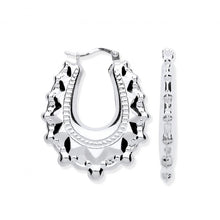 Load image into Gallery viewer, Sterling SIlver Sculptured Hinged Oval Earrings-PObjoy Diamonds