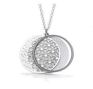 Sterling Silver Round Filigree Ladies Pendant & Necklace-Pobjoy