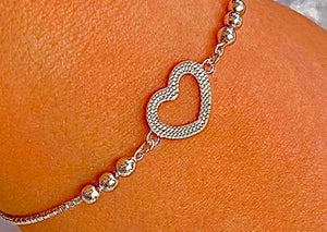 925 Sterling Silver Adjustable Heart Charm Friendship Bracelet