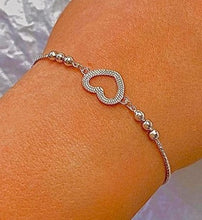Load image into Gallery viewer, 925 Sterling Silver Adjustable Heart Charm Friendship Bracelet