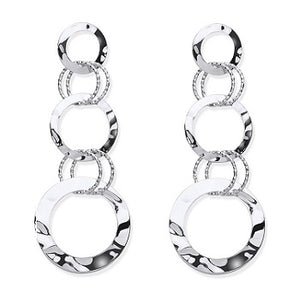 Sterling Silver Ladies Multi Circle Linked Earrings-Pobjoy Diamonds