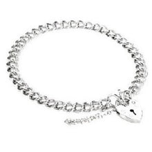 Load image into Gallery viewer, Sterling Silver Ladies Curb Padlock Bracelet-Pobjoy E-Boutique