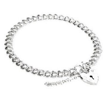Sterling Silver Ladies Curb Padlock Bracelet-Pobjoy E-Boutique