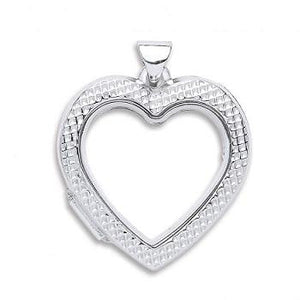 Silver Heart Ribbed Open Locket