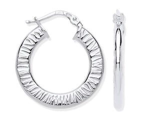 Silver Hoop Ribbed Earrings - Pobjoy Diamonds