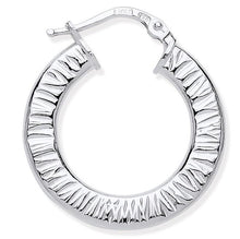 Load image into Gallery viewer, Silver Large Hoop Ribbed Earrings