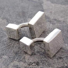 Load image into Gallery viewer, Sterling Silver Handmade Mens Square Cufflinks From Pobjoy