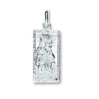 Pobjoy Sterling Silver Rectangle St Christopher Childs Pendant