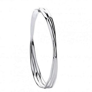 Silver Triple Faceted Ladies Bangle