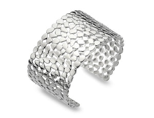 Sterling Silver Lattice & Shapes Wide Bangle